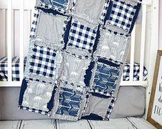 Bear Rag Quilt Bedding Crib Set for Baby Boy Nursery for Woodland Outdoor Adventure Theme - Navy Blue / Gray