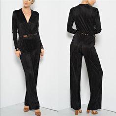 LYANN  v neck jumpsuit w/ belt - BLACK Long Sleeve Jumpsuit w/ Belt - high waisted  - v-neck Fabric 100% POLYESTER Made in U.S.A. Bellanblue Pants Jumpsuits & Rompers