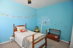 toddler bedroom; vintage twin bed