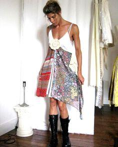 Scarf Style Babydoll Dress - Cottage Chic, Tunic, Beach, Vintage, Funky, Artsy, Upcycled - Original EcoFashion by ColumbiaAveArt. $92.50, via Etsy.