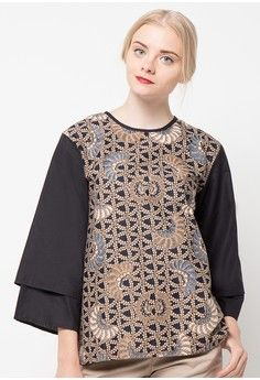 Blus Katun Rantai Hitam Mt from Batik Putra Bengawan in black and brown_1