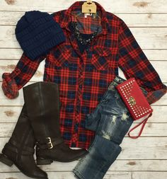 Penny Plaid Flannel Top: Red/Blue