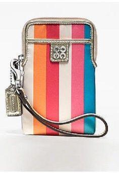 Coach Julia Stripe Universal Phone Case Camera Case Wristlet 61662B #COACH #WristletUniversalPhoneCase