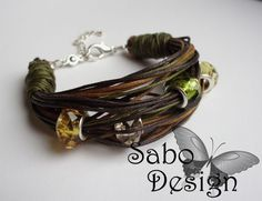 Earthy ETHNIC BRACELET waxed twines glass beads by SaboDesign