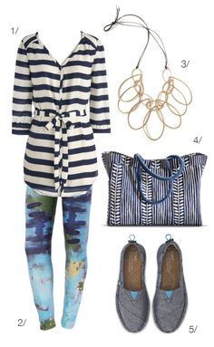 real world outfit: artsy meets preppy // featuring striped tunic top and printed leggings // via megan auman