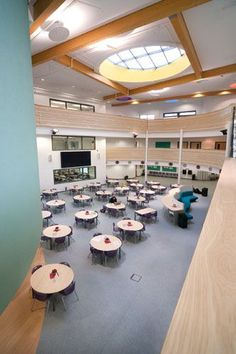 Case study on the Joseph Rowntree School, York rebuilt as a one off pathfinder school using funding from the building schools for the future BSF programme with furniture supplied by British Thornton. Dining Area, Joseph, Conference Room, Study, School, Table, Furniture, Home Decor, Studio