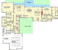 58 ideas house plans modern mountain bath for 2019 Modern Floor Plans, Contemporary House Plans, House Floor Plans, Modern Contemporary, Courtyard House Plans, Jack And Jill Bathroom, House Entrance, Luxury Bath, House Layouts