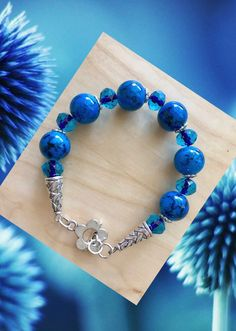 Blue Trendy Sparkly Bracelet, Gift For Her, Handmade Gift, Crystal Jewelry, Fashion Accessories, Women, Blue Jewelry, Blue Accessories by Creationlily on Etsy https://www.etsy.com/listing/500814892/blue-trendy-sparkly-bracelet-gift-for