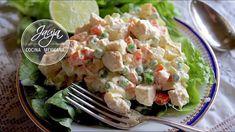 Ensalada de pollo rápida y fácil - YouTube / #Ensalada #Fácil #pollo #rápida #YouTube Mexican Food Recipes, Dinner Recipes, Ethnic Recipes, Ensalada Rusa Recipe, Healthy Salads, Healthy Recipes, Gourmet Tacos, Grilled Meat, Easy Snacks