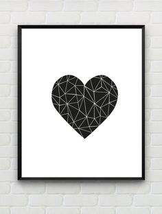 Heart Printable Art Print, Printable Geometric Wall Art, Printable Black and White Wall Decor, Minimalist,Nursery Print, Instant Download by Designsbyritz on Etsy