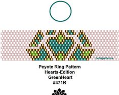 Peyote Ring Muster, PDF Download, digital, 471R,Valentinstag Muster,Herz Muster,Heart-Edition, Schmuckanleitung, Ring Muster,pdf muster Peyote Patterns, Beading Patterns, Beaded Rings, Beaded Bracelets, Native American Beading, Peyote Stitch, Brick Stitch, Earring Set, Craft Jewelry