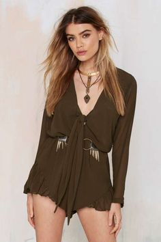 Lioness Clarity Tie-Front Romper - Rompers + Jumpsuits