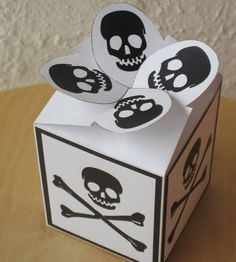 Skull and Bones gift box printable instant by Paper2Download