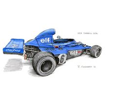 "1973 Tyrrell 006 Sketched at the Motor Sport magazine Hall of Fame Showcase at The London Classic Car Show on January 9th, 2015. Pen&ink and archival markers on watercolour paper 12""x 9"" © Paul Chenard 2015 Original art available."