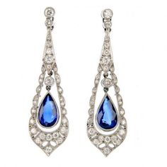 Vintage Diamond & Sapphire Drop Earrings ID 57591 #1