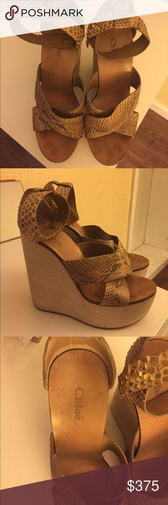 Chloe Snakeskin Wedges Beige snakeskin wood wedges 37.5 Chloe Shoes Wedges