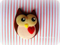 polymer clay owl bead