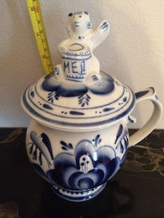COBALT BLUE PORCELAIN HONEY JAR MADE IN RUSSIA  | eBay