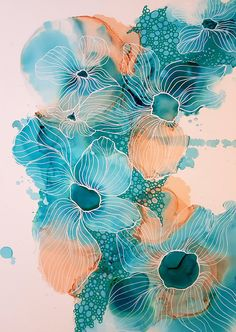 Blue+Lily,+Flower+Painting,+Alcohol+Ink+Art,+Ink+Painting,+Original+Art,+Abstract+Art