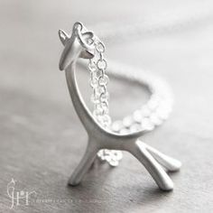 Giraffe necklace in brushed sterling silver by idreamicanfly