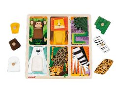Janod Zoo Animals Tactile Puzzle Age: 18-36 months  . Explore the various coats of the zoo animals by turning over the puzzle pieces!. . Using the wooden pins, children can easily handle the puzzle pieces to place the animals in the proper position. . As your child enjoys the super soft fabrics, he or she will develop motor skills and imagination while having fun.