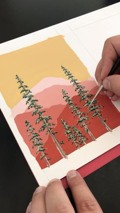 Painting Mountains and Pine Trees by Philip Boelter 🎨🌲 Gouache is my favorite medium. I love how vibrant it is and how smooth it goes on. I think another favorite thing about gouache is that you can layer on top… Continue Reading → Aesthetic Painting, Aesthetic Art, Aesthetic Drawings, Aesthetic Videos, Aesthetic Fashion, Gouache Painting, Watercolor Paintings, Easy Watercolor, Oil Paintings