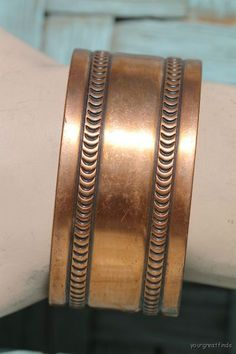 Vintage Solid Copper Wide Cuff Bracelet by Yourgreatfinds on Etsy