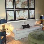 Teresa Meyer Interiors - dens/libraries/offices - tan, lamps, ottoman, sofa, map, art, Jules Accent Table,  DIY world map art, slipcovered linen