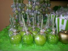 Garden of Eden theme: Pineapple flavored candy apples for guests Bling Stick sold by www.omazingcreationsinc.com