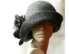 Gray Felted hat felt hats Women's hat Cloche Hats felted hats 1920s hat Retro hat Grey Hat Victorian 1920's roses felt hats