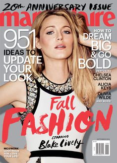 """Pin for Later: Blake Lively Wants a """"Litter of Kids"""" With Ryan Reynolds Source: Guy Aroch/Marie Claire Guy Aroch, Fashion Magazine Cover, Fashion Cover, Star Fashion, Magazine Covers, Magazine Stand, Fall Fashion, Magazine Spreads, Fashion Hair"""