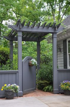 Garden Gate. Garden gate with pergola. #GardenGate #Gate #GatePergola  The Collins Group JDP Design.