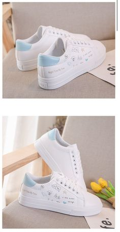 Fashion Leather Graffiti Lace-Up Breathable Women Casual Shoes – GaGodeal All Nike Shoes, Dr Shoes, White Nike Shoes, Me Too Shoes, Fashion Sandals, Fashion Boots, Sneakers Fashion, Fancy Shoes, Pretty Shoes