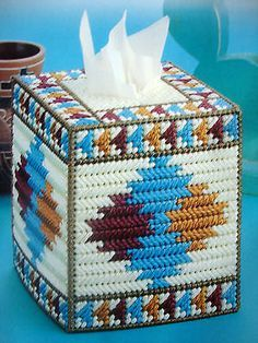 plastic canvas tissue box free patterns - Google Search