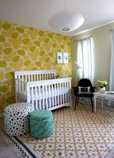 a before & after nursery with the same wall paper i put in dawsynn's room.