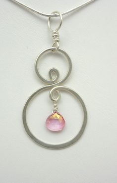 Silver Double Spiral and Pink Quartz Wire by TwistedBlissDesigns, $25.00