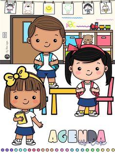 Retro Cartoons, School Colors, Childhood Education, Teacher Resources, Preschool Activities, Back To School, Hello Kitty, Clip Art, Bikini