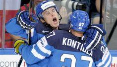 Jori Lehterä and Petri Kontiola celebrate a goal against Czech Republic in semi-finals. #Finland #hockey
