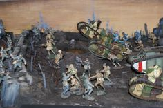 1/32nd Scale WWI Diorama featuring Old Northwest figures and vehicles. Displayed in our shop.