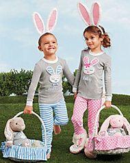 girls personalized pink ear bunny pj's