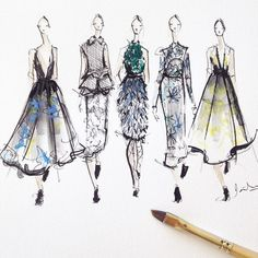Sketching Erdem SS'15 Follow me on Instagram @jeanettegetrost as I sketch my way through London and Paris Fashion Week <3