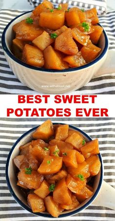 Best Sweet Potatoes Ever just like gran used to make ! Candied Sweet Potatoes are one of the best side dishes ever with a light cinnamon flavor Potato Side Dishes, Best Side Dishes, Vegetable Side Dishes, Side Dish Recipes, Vegetable Recipes, Easy Dinner Recipes, Vegetarian Recipes, Healthy Recipes, Delicious Recipes