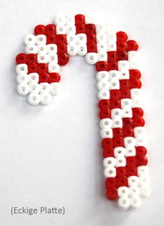 Christmas candy cane hama perler beads More Melty Bead Patterns, Pearler Bead Patterns, Perler Patterns, Beading Patterns, Quilt Patterns, Hama Beads Design, Diy Perler Beads, Perler Bead Art, Christmas Perler Beads