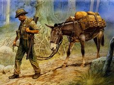 A:Chindit mule leader Military Photos, Military Art, Military History, Military Uniforms, Lead Adventure, Animal Posters, Mountain Man, World War Two, Art Pictures