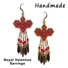 Beaded Royal Valentine Earrings - Pattern is also available at Sova-Enterprises.com