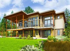 Stunning Modern House Plan with Deck and Vaulted Porch in Back - 23680JD thumb - 03