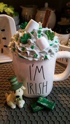 Faux Whipped Cream Mug Topper for RD Mug on Mercari St Patrick's Day Decorations, Candy Christmas Decorations, Christmas Candy, Christmas Desserts, Weird Food, Fake Food, St Patrick's Day Crafts, Food Crafts, Diy Whipped Cream