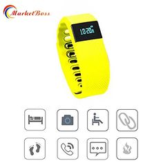 MarketBoss LED Smart Bluetooth Wrist Watch Bracelet Heart Rate Monitor Sleep Monitor analysiswith Rechargeable USB portyellow *** Continue to the product at the image link.