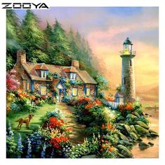 Lighthouse On Pinetree Cove~ Jim Mitchell Art Thomas, Painting, Beautiful Paintings, Cottage Art, Art, Pictures, Beautiful Landscapes, Thomas Kinkade Paintings, Beautiful Pictures