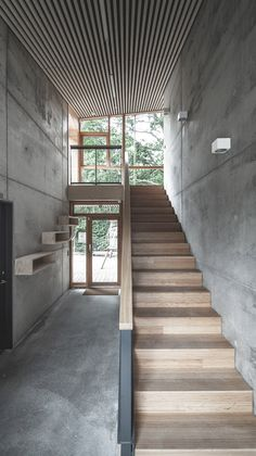 Inside, raw concrete walls and floors are paired with pine plywood panelling and bamboo stairs, while slats of timber run across the sloping ceilings.